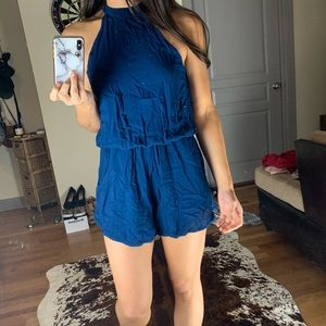 Navy High Neck Romper